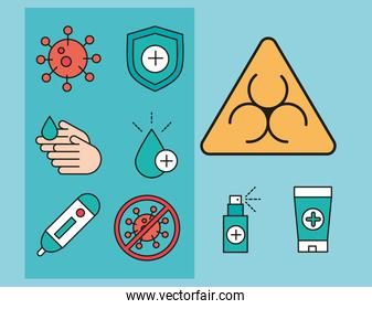 virus protection coronavirus covid 19 biohazard, medical products and others icons line and fill icon