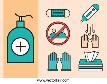 virus protection dispenser with sanitizer gel, medical mask, tissue box and gloves set icons line and fill icon