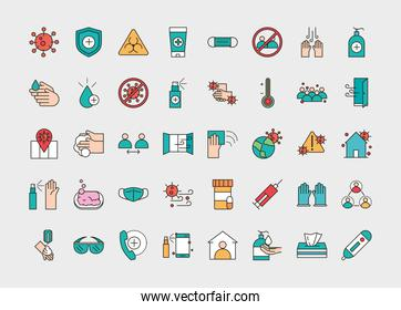 virus protection, contains such icons as protective measures line and fill icon