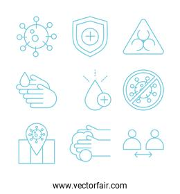 virus protection, measures prevention include wash hands, keep social distance and more icons line icon