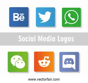 social media logos network pictograms icons collection