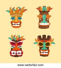 tiki tribal wooden masks culture ancient set icons