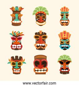 tiki african face wooden sculpture on white background, set icons