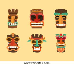 tiki tribal hawaii totem traditional wooden, collection icons