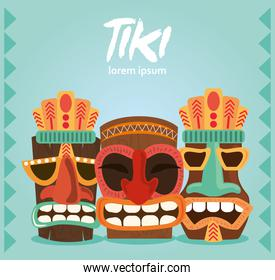 tiki traditional statue decor set from polynesia and hawaii card