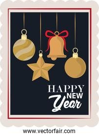 happy new year 2021, hanging ball star and bell, postage stamp icon