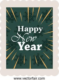 happy new year 2021, handwritten text on green snowflakes background, postage stamp icon