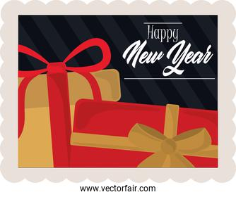 happy new year 2021, lettering and gift boxes, postage stamp icon