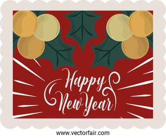 happy new year 2021, handwritten lettering holly berry decoration, postage stamp icon