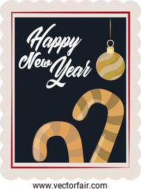 happy new year 2021, golden ball and candy canes decoration, postage stamp icon