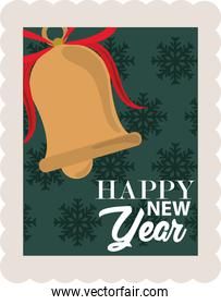 happy new year 2021, bell with bow over green snowflakes background, postage stamp icon
