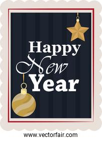 happy new year 2021, hand drawn lettering ball and star, postage stamp icon