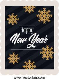 happy new year 2021, golden snowflakes calligraphy and striped background, postage stamp icon