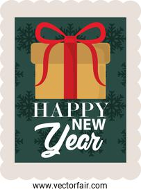 happy new year 2021, wrapped gift box snowflakes green background, postage stamp icon