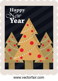 happy new year 2021, trees with lights and balls decoration, postage stamp icon