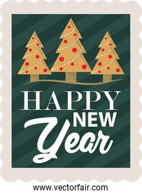 happy new year 2021, handwritten lettering and trees decoration, postage stamp icon