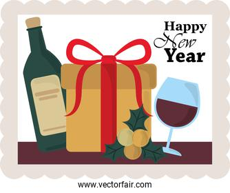 happy new year 2021, gift box wine bottle and cup celebration, postage stamp icon