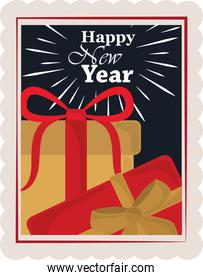 happy new year 2021, gift boxes decoration and celebration, postage stamp icon