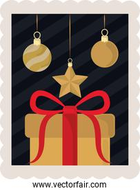 happy new year 2021, hanging golden balls star and gift celebration, postage stamp icon