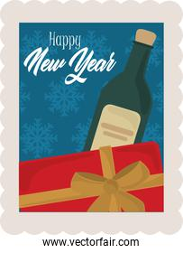 happy new year 2021, gift box and wine bottle celebration, postage stamp icon