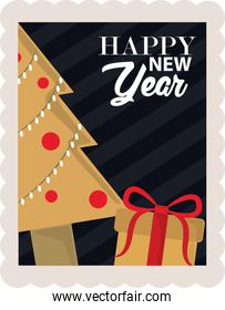 happy new year 2021, tree and gift box decoration, postage stamp icon