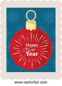 happy new year 2021, red ball with lettering and blue background with snowflakes, postage stamp icon