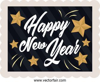happy new year 2021, golden stars and handwritten text, postage stamp icon
