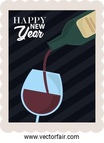 happy new year 2021, wine bottle pouring in cup celebration, postage stamp icon