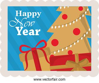 happy new year 2021, golden tree with gift boxes, postage stamp icon