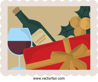 happy new year 2021, wine bottle cup gift and holly berry decoration, postage stamp icon