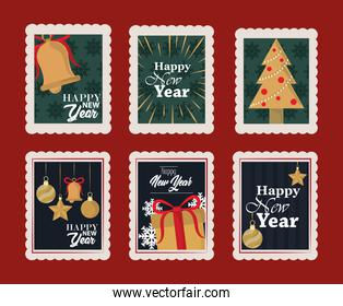 happy new year 2021, postage stamp icons set with bell, tree, gift and others