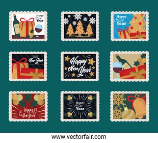 happy new year 2021, postage stamp icons set with wine bottle, trees, gifts and more