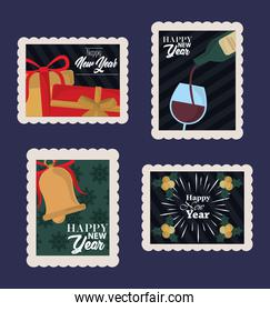 happy new year 2021, postage stamp icons set include gift, wine bottle, bell