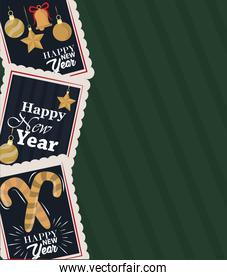 happy new year 2021, postage stamp icons set with handwritten texts, golden decoration
