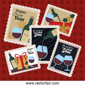 happy new year 2021, postage stamp icons collection with wine bottle, cup, gifts celebration