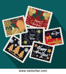 happy new year 2021, celebration and decoration postage stamp icons set