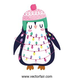 merry christmas, cute penguin with hat and lights animal cartoon