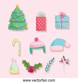 merry christmas, cute cartoon tree gifts candy cane warm hats and holly berry icons