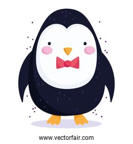 merry christmas, cute penguin with bow tie cartoon