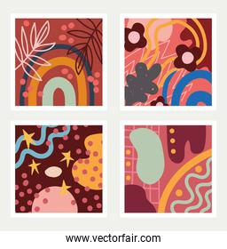 set of abstract seamless patterns doodle contemporary with abstract shapes textile