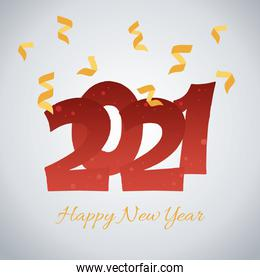 2021 happy new year, handwritten lettering and confetti decoration