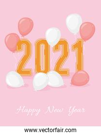 2021 happy new year, golden number and balloons decoration