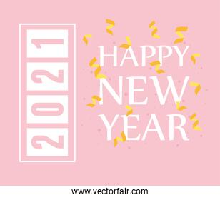 2021 happy new year, greeting card with confetti text decoration