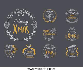 merry christmas black background with collection labels, sock, hat, balls,