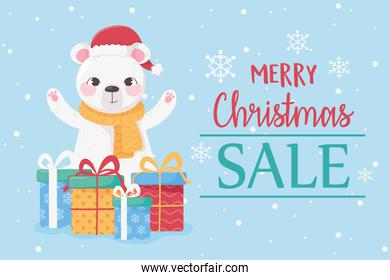 merry christmas cute bear with hat and gift boxes card