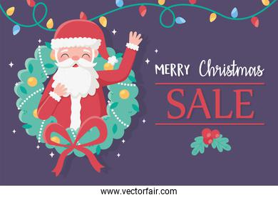 merry christmas santa claus in wreath lights decoration card