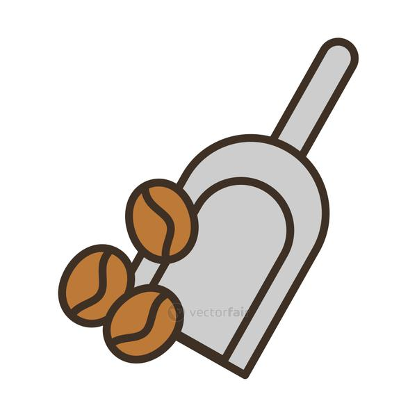 shovel with coffee grains fill style icon