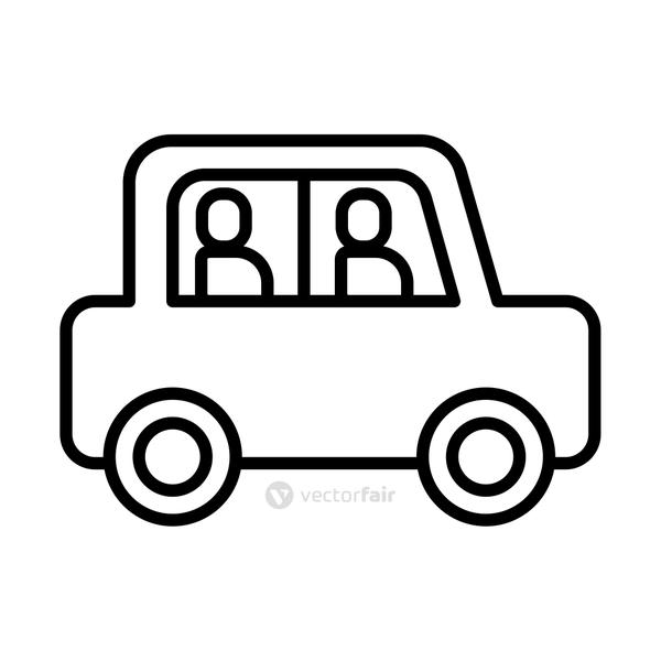 persons in car line style icon