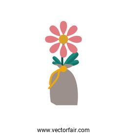 flower growth plant in bag flat style icon
