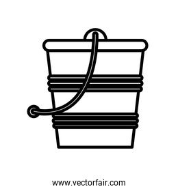 gardening bucket with sand line style icon